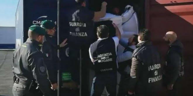 Incautaron 664 kilos de cocaína en un buque llegado a Italia