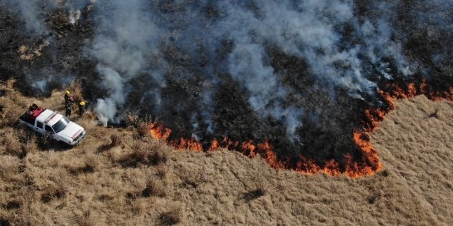 Gran incendio de pastizales en el sector norte de la ciudad