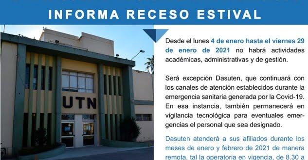 Entre el 4 y el 29 de enero habrá receso administrativo en la UTN
