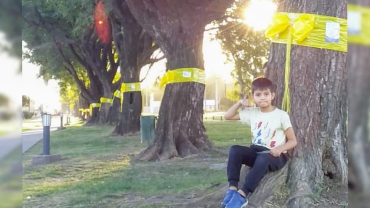 Benja abrigando con lazos amarillos en los árboles de la Costanera