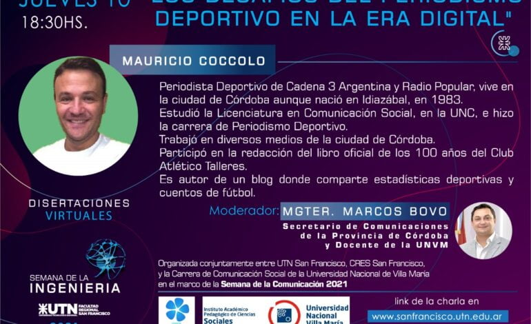 """Se viene la charla de """"Los Desafíos del Periodismo Deportivo en la Era Digital"""""""